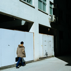 Aberdeen, Hong Kong (James Banko Photography) Tags: this image is copyrighted by james banko man walking shadow highcontrast hongkong streetphotography streetphotographer sonya7 sony outdoors minolta melbournephotographer manual manualfocus minolta50mm minimal minimalist