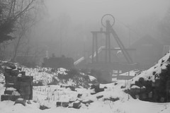The Good Old Days 2 (Ged Slaughter Photography) Tags: blistshill ironbridge pit pithead colliery winter wintery landscape misty bleak cold snow snowy gedslaughter bw heritage worldheritage