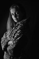 Studio portrait 1. Leopard (Honey Green) Tags: people person light dark blackandwhite white black studiophotography studio portrait