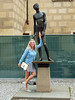 Posing with Willy , Prague 2017 (Daves Portfolio) Tags: prague 2017 czechrepublic statue gold penis willy blonde posimg pretty attractive candid candidshot praha