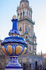 Close - up (hildecarmans) Tags: colorful colors porcelain ceramics azulejos plazadeespana andalusia andalucia espana spain sevilla seville history monument buildings blue yellow old historical place