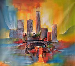 The City We Live In, Art Painting / Oil Painting For Sale - Arteet™ (arteetgallery) Tags: arteet oil paintings canvas art artwork fine arts architecture sky city building travel landscape tourism old town house buildings cityscape urban scenic colorful skyline cities abstract semi orange red paint