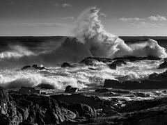 Waves (burnsmeisterj) Tags: olympus omd em1 waves aberdeen sea storm rocks mono monochrome blackandwhite