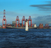 Lighthouse and Cranes stand tall (jimmedia) Tags: new brighton cranes rver mersy liverpool sea sky winter port harbour coat coast cloud wirral ship container sunlight sunshine