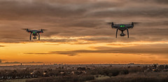 Formation flying against a Liverpool sunset (Steve Samosa Photography) Tags: rainhill england unitedkingdom gb drones dronecamera drone droneshot droneview aerial aerialview lowangleview sunset wintersun liverpool merseyside