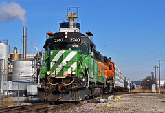 "Southbound Transfer in Kansas City, KS (""Righteous"" Grant G.) Tags: bnsf railway railroad locomotive train trains bn burlington northern emd kansas city transfer yard job freight up union pacific"