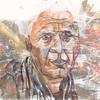 # 264 2018-02-07 (h e r m a n) Tags: herman illustratie tekening 10x10cm tegeltje drawing illustration karton carton cardboard kunst art portrait portret withaar whitehair