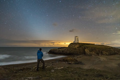 'Nights On The Coast' - Llanddwyn Island, Anglesey (Kristofer Williams) Tags: zodiacallight lighthouse night sky stars phenomenon nightscape selfie person figure beach coast sea water waves porthtwrmawr llanddwyn llanddwynisland ynysllanddwyn newborough anglesey wales landscape