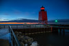 Guarding into the Night (T P Mann Photography) Tags: seascape sea pier railing blue ice evening longexposure dusk night lighthouse lights lake michigan charlevoix