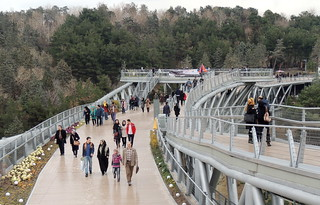 Iranian people leisure time at Talghani park and Tabiat pedestrian bridge, Tehran, Iran