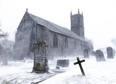 Princetown Church (Picture South West) Tags: princetown dartmoor devon storm emma 2018 winter blizzard church st michael all angels cross graveyard gravestones snow weather uk architecture