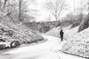 Lady in red (Zesk MF) Tags: woman street red snow winter zesk bw mono black white walking spuren schnee fwg