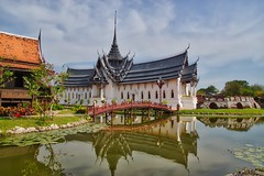 Replica of Sanphet Prasat palace from Ayutthaya in Muang Boran, Samut Phrakan, Thailand (UweBKK (α 77 on )) Tags: replica sanphet prasat palace ayutthaya period lake reflection architecture building history historical muang mueang boran ancient city siam bridge open air museum samut phrakan thailand southeast asia sony alpha 77 slt dslr