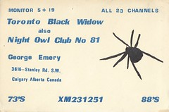 Toronto Black Widow also Night Owl Club No. 81 - Calgary, Alberta (73sand88s by Cardboard America) Tags: qsl cb cbradio vintage qslcard alberta spider