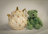 Posing with a Teapot (HTT) (13skies) Tags: happyteddybeartuesday teapot posing teddybeartuesday teddy bear teddybear fun classy relax hot healthy love greenbear