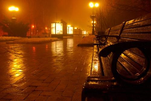 Wet Bench at Foggy Night
