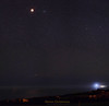 Orb to Rule the Night (Steven Christenson) Tags: moon eclipsed lighthouse pigeonpoint fog ocean seascape night stars lightpolllution beehive cluster cancer panorama stitched astrometrydotnet:id=nova2423037 astrometrydotnet:status=solved