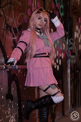IMG_3574 (**DBPhotography**) Tags: miu iruma danganronpa owldolly owl dolly cosplay costume graffiti tunnel london daniel bennett goggles steampunk pink hair wig dress video game anime