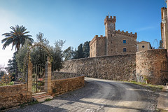 arrivando a Casaglia (Mancini photography) Tags: tuscany street country medieval building tower italy sky clock wall