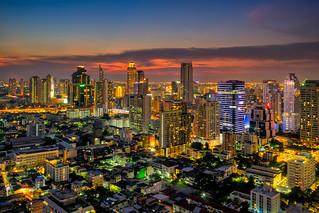 Sunset scence of Bangkok skyline Panorama and Skyscraper