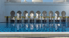 Abu Dhabi, United Arab Emirates: Sheikh Zayed Mosque reflecting pool (nabobswims) Tags: ae abudhabi hdr highdynamicrange ilce6000 lightroom mosque nabob nabobswims photomatix reflectingpool reflection sel1018 sheikhzayedmosque sonya6000 uae unitedarabemirates