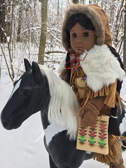 Tag Game: First Snow (Foxy Belle) Tags: american girl doll snow kaya horse native braids dog woods journey trees winter fur hide leather tag game first 18 ag historic