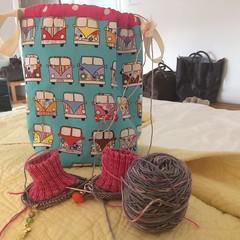 Knitting on my travels (S1lverst1tcher) Tags: vacationknitting holidayknitting handmade sockknitting knitting campervan projectbag cuffdownsocks socks handknitted