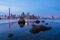 Toronto Blue Hour (quiltershaun) Tags: longexposure skyline scenic view ice frozen sunset bluehour citylights cityscape city travel northamerica ontario canada toronto