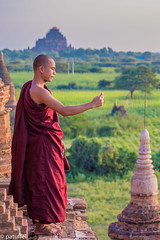 Selfie by a monk on top of a pagoda in Bagan (Myanmar) (patuffel) Tags: selfie bagan myanmar monk burma bulethi pagoda red robe