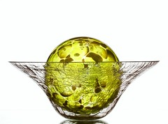 Yellow (Karen_Chappell) Tags: yellow glass orb bowl round circle sphere white stilllife