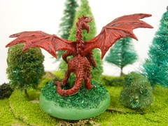 dragon3 (Giantnerdguy) Tags: dragon tree trees bush bushes red green white reaper mini miniature paint painting
