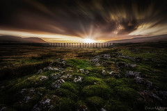 Last Light (peterwilson71) Tags: viaduct skys rocks sunset marsh railway yorkshire arch bridge beautiful canon6d clouds dark evening exposure foliage green grass longexposure moss nature night trees