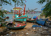 Colorful fishing boats (Siggi007) Tags: colors thailand fishingboats boat boats sea seaside beach beauty nature colorfull farben travel traveling serene tranquil panasonic water environment outdoor scenery scene landscape vessel tree litter garbage focus wrecks blue stranded shore fishing living tz90