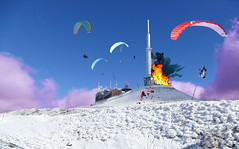 Flying Firemen at work (Le.Patou) Tags: france auvergne massif central puy volcan volcano vent wind winter hiver paysage landscape neige snow sky cloud ciel nuage trash fire feu pompier fireman eruption blague trick montage pasteup fz1000