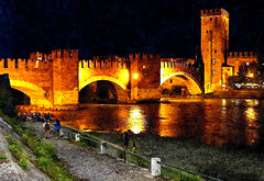 Verona - Ponte di Castelvecchio (*Sefora*) Tags: photopainting painting night river people fotosketcher oil paint water art bridge old golden painterly paintings sefora9530