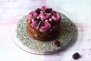 Naked Chocolate Blueberry Cake