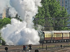 Cloaking Device! (Deepgreen2009) Tags: steam uksteam bulleid merchantnavy clanline railway train cloaking exhaust blow plume blast hidden