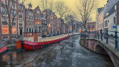 Amsterdam Canal (ahwou) Tags: boat amsterdam canals winter ice holland city ngc