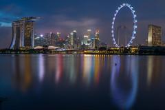 Singapore Cityscape (BP Chua) Tags: city cityscape landscapoe bluehour night longexposure river water reflection colours buildings marinabaysg marinabaysands singaporeflyer singapore asia nikon d800e wideangle travel tourism visitsingapore