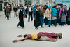 Pilgrims, Lhasa 1987 (johnjackson808) Tags: tibet buddhism nikon fujifilmxt1 devotion people film streetphotography lhasa pilgrims 1987 prayer 35mmfilm