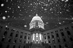 Snowy Capitol (Kirby Wright) Tags: madison wisconsin dane county isthmus madison365 building square bw black white rotunda architecture snow winter pillars dome light flake snowflake falling bokeh flash nikon d700 tamron 2040 20 40 mm f2735 promaster