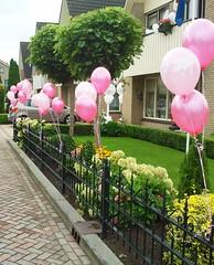 heliumballonnen aan hek