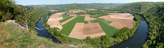 Panorama:  meander on the Lot near Cajarc (ronmcbride66) Tags: france lot meander meanderloop riverlot weir farming landscape agriculture arable woodland limestone radialfieldpattern village cliffs river cajarc valley valleyfloor panorama vista fluvial oxbowlake