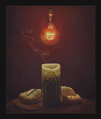 {God, the pseudo Scientist} (SoyGorche) Tags: sience religion atheism philosophy outdated christianity dogma god delusion gorche anti theism atheist problem verlion still life candle incense bulb virgin mary ateo flawed