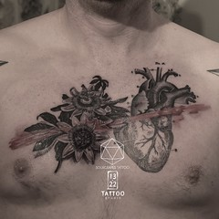 Anotomical Heart Tattoo (13.22 Tattoo Studio) Tags: mr j best sourgrapestattoo tattoo london nw6 art single needle fineline thin blackwork 1322 studio abstract linework etching artist custom detailed surreal botanical anatomical heart floral chest piece