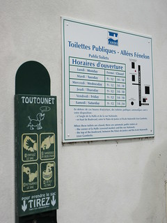 Dog poop and toilet signs, Allées Fénelon, Cahors, France