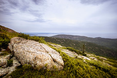 Summer Overcast Day at Cadillac Mountain (Vladimir Grablev) Tags: barharbor maine unitedstates us view usa landscape nature water mountains overcast panorama rocks daytime summer colorful ocean beautiful travel national scenic summit green park acadia cadillacmountain cloudy nationalpark