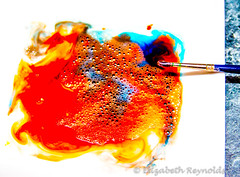 Day 40. (lizzieisdizzy) Tags: water plate colour red blue shades brush paintbrush bubbles bubble swirl swirls mix mixing patterns pattern soap soapy art arty artist paint painting