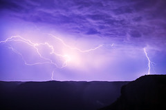 Electric Blue || BLUE MOUNTAINS || AUSTRALIA (rhyspope) Tags: australia aussie nsw new south wales blue mountains blackheath govetts leap grose valley weather night dark lightning storm thunder thunderstorm sky clouds bolt strike electric rhys pope rhyspope canon 5d mkii view vista amazing wow travel