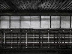 Light and Shadow (Steve Taylor (Photography)) Tags: cannonstreetstation cannonstreet station train rail railway louvres cables trunking architecture roof monochrome blackandwhite monotone metal uk gb england greatbritain unitedkingdom london lines corrugated summer sunny sunshine